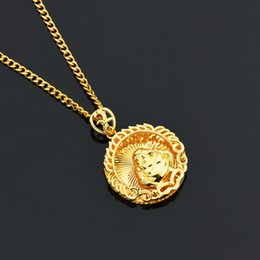 Wholesale Smiling Buddha Pendant - Goofan Hiphop Men Personality Gold Smiling Buddha Disk Pendant&Necklace with Cuban Chain Alloy Cool Jewelry