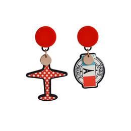 Wholesale Glass Airplane - Asymmetry Aircraft Paris France Badge Stud Earrings Cartoon Airplane Plane Glasses Earrings for Women Girl Sister Friend Jewelry