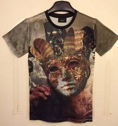 Wholesale Funny Retro Shirts - tshirt Classic New Fashion men's 3D t-shirt funny printed Vintage retro golden mask Bloody eyes top tees 3d Tshirt DT28