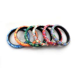 Fleurs en pâte polymère en Ligne-Mélanger Lot Fleur Design Bohème Polymère Clay Bracelets Pour Femmes 12mm Largeur 24pcs / lot Livraison Gratuite