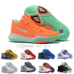 Wholesale Christmas Punches - 2017 New Style Kyrie Irving 3 Hot Punch Team Red Christmas Mens Basketball Shoes Top quality Kyrie 3 Air Cushion Sport Sneakers 40-46