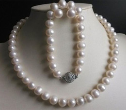 Wholesale Freshwater Pearl Set Aa - Natural 9-10mm White Freshwater Cultured Pearl Necklace Bracelet Earrings Set AA
