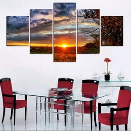 Wholesale Tree Life Artwork Paintings - No Framed 5 Piece Landscape HD Print Trees Modern Home Wall Decor Canvas Picture Art Painting On Canvas Artworks