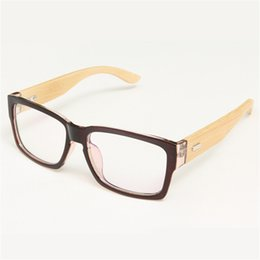 Wholesale Plain Eye Glasses For Men - Wholesale- 100% Handmade Bamboo Legs Plain Mirror Vintage Eye Glasses Frames For Women Men Brand Frames Myopia Eyewear Oculos De Grau Hot