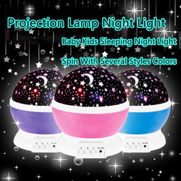 Wholesale Kids Night Lights Stars Moons - Romantic New Rotating Star Moon Sky Simulation Rotation Night Projector Light Lamp Projection with high quality Kids Bed Lamp
