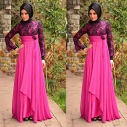 estilo imperio vestidos largos Rebajas Vestidos de noche africanos de manga larga Vestidos de noche de encaje de Nigeria Árabe 2018 Imperio de gasa elegante Alto cuello musulmán Vestidos de fiesta de baile de sirena