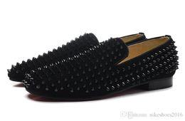 Мужская обувь онлайн-2016 роскошные красные нижние ботинки мужские черные шипы дело кожа красная подошва оксфорды обувь, дизайнер бренда бизнес свадебное платье обувь