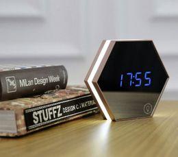 Wholesale Color Change Digital Table Clock - Upgrade fashion Mirror and LED Alarm Clock despertador Touch Control LED night lights display electronic desktop Digital table clocks
