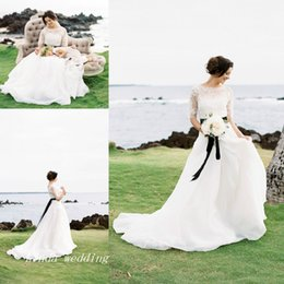 Wholesale Discount Bridal Gown Sashes - Regency Wedding Dresses New Arrival Discount Elegant A Line Lace Formal Long Bridal Party Gowns With Short Sleeves