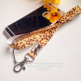 Wholesale Leopard Print Neck Lanyard - leopard print fabric handmade Neck Lanyards with crystal and hook for ID badges keys cards cellphone MP3 USB players