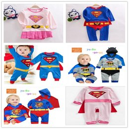 Wholesale Batman Rompers - 4 sets lot New Arrive Infant Toddler Boys Girls Superman Spiderman Batman Romper with Cloak Boy's Girl's Baby Long Sleeve One-Piece Rompers