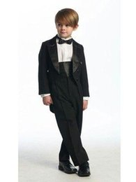 Wholesale Boys Tuxedo Suit Free Shipping - Custom Made Boy's Formal Occasion Suits Children Wedding Birthday Prom Suit Boys Tuxedos(Jacket+Pants+Bow) free shipping