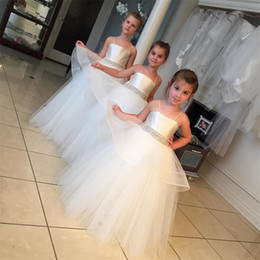 Wholesale Organza Ball Gowns For Children - Flower Girls Dresses For children Toddlers 2016 Princess Tutu Tulle Skirt Crystal Sash Girls Pageant Communion Dresses