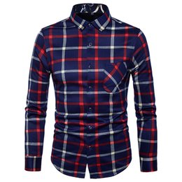 Wholesale Red Dress Shirts Men - 2017 Brand Men's Business Casual shirt Mens Long Sleeve Plaid Slim Shirts for Men Fit Social Male Shirts New Fashion Shirt single-Breasted