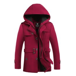 Wholesale Wholesale Coats For Men - Fall-2016 Winter Mens Wool Blend Hooded Trench Pea Coat Camping Jacket Overcoat for Men British Style Collar Hombre Brand Clothing