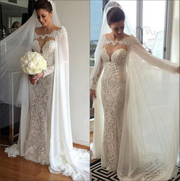 Wholesale T Back Chiffon Bridal Dress - 2017 New Chiffon Capped Lace Beaded Mermaid Wedding Dresses Lace Applique Illusion Floor Length Wedding Bridal Gowns