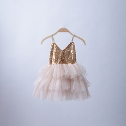 Wholesale Champagne Wholesale Dress - New 2016 Baby Girls Tulle Lace Sequined Dresses Kids Girl V-neck Party Dress Girl Princess tutu Cake Dress Babies Summer Clothes