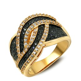 Wholesale cocktail diamond ring - LUXURY top quality 18K yellow and black gold double plated micro pave CZ diamond cocktail ring for party