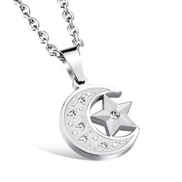 Wholesale Sport Necklaces China - LSL JEWELRY Man Star+Moon Pendant Necklaces Casual Stainless Steel with 3A Cubic Zirconia Cool Men Sports Fashion Jewelry GDX1078