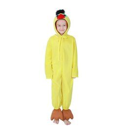 Argentina Las niñas de dibujos animados de animales pato amarillo traje cosplay ropa día de los niños trajes mono + sombrero para niños niños venta al por mayor PS050 cheap yellow duck clothes Suministro