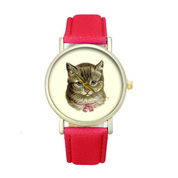 Wholesale Cartoon Watches For Women - Brand New 2017 Fashion Women Casual Watch Cat Pattern Wristwatch for Girl Quartz Cartoon Watch Clock Hours Relojes Gift