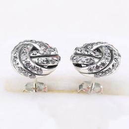 Wholesale European Earrings Silver 925 - Hot Sale Charm Earrings Flower Stunning Authentic 925 Sterling Silver Fashion Women Jewelry European Style For Pandora 032