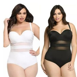 Wholesale Net Bathing Suits - Newest in Europe and the bikini increase larger size woman Net yarn splicing pure color one-piece bathing suit Swimwear 2838