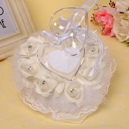Wholesale heart shape pillow wedding - 16*15*10CM White Ivory heart-shaped ring pillow european-style feather rose flowers rhinestones lace ring pillow bridal wedding ring box