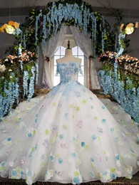 Wholesale Floral Design Photos - All the Same as Photos Real Original Design Blue Romantic Flowers Wedding Dress Ball Gown Beading Tulle Photography Bridal Gowns 2017