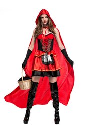 Wholesale Sexy Little Red Riding - High quality Sexy Little Red Riding Hood Costume Party adult Small RedCap cosplay Dress 2016 New clothing Halloween for Women wholesale PS03