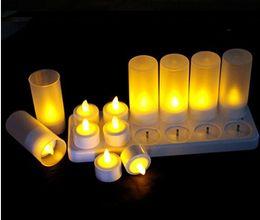 Wholesale 12 Led Rechargeable Candles - Wholesale- High quality 12pcs a set rechargeable led candle 12 PCS Plastic LED Rechargeable Candle Light