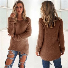Wholesale Wool Sweater Lady - Women Autumn Sweater 2016 New Fashion Female Long Sleeve O Neck Loose Solid Pullovers Sweaters Ladies Slim Tops 0179