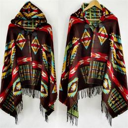 Wholesale Fringe Cape - Fringe Geometric Bohemia Cardigan Sweater Winter Hooded Outwear Wool Blend Ethnic Style Print Blanket Cloak Women's Poncho Cape