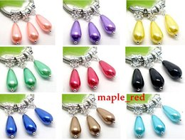 Wholesale Blue Teardrop Necklace - 100pcs Beautiful Different colors Silver Plated Imitation Pearl Teardrop Beads Charms Dangles fit European Bracelet & Necklace DIY