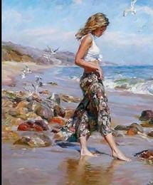Pintura de panel multi playa online-Chica enmarcada caminando en la playa, figura pintada a mano pura, impresionista, pintura al óleo sobre lienzo de calidad, múltiples tamaños