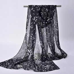 Wholesale Musical Prints - New Spring Lady Womens Chiffon Soft Wrap Music Musical Note Printed Scarf Shawl Stole Neck Hot Sale H5