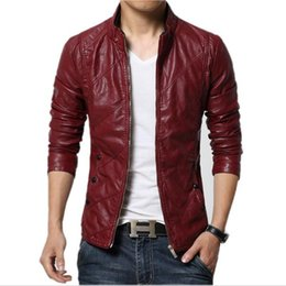 Wholesale Faux Fur Suede Jackets - Fashion PU Leather Jacket Men Black Red Brown Solid Mens Faux Fur Coats Trend Slim Fit Youth Motorcycle Suede Jacket Male free shipping