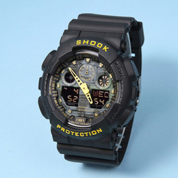 Wholesale watch multicolor - Cheap Dual Display ga100 Sports Watch G Style Black Display LED Digital Fashion Army Military Shocking Casual Men Wristwatches With Alarm