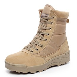 Wholesale Sport Med - Military Tactical Combat Outdoor Sport Army Men Boots Desert Botas Hiking Autumn Shoes Travel Leather High Boots Male