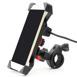 Wholesale Mobile Phone Mount Motorcycle - Motorcycle Cell Phone Mount Holder Charger Mobile Phone Bracket with USB Holder For Phone