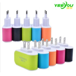 Wholesale Iphone Brand Rock - LED Light 3USB Charger 3.1A USB AC US EU candy color home plug for iphone for samsung galaxy