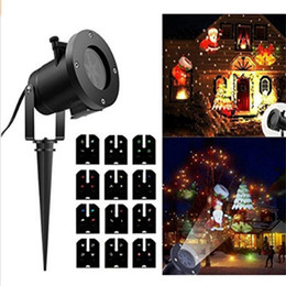 Wholesale uk patterns - 12 Pattern Lens Replaceable Colorful LED Rotating Laser Projector Lamp Outdoor Garden Christmas Landscape Projection Led Light