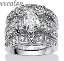 Wholesale Vintage Finger Ring Band - Vecalon Vintage Engagement Wedding band Ring Set for Women Marquise Cut 3ct Cz Diamond 14KT White Gold Filled Party Finger ring