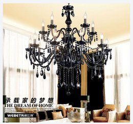 Wholesale Candle Light Restaurant - Factory Price! Black Murano Chandelier Light modern black chandelier restaurant chandeliers glass Candle chandeliers crystal ball chandelier