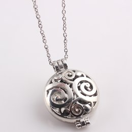 Wholesale Wholesale Pendant Frames - Charm Aromatherapy Diffuser Photo Frame Locket Necklace Round Openable Necklace Pendants 2016 New Jewelry Women N426