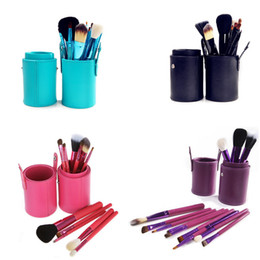 Wholesale Goat Hair Brushes Set Cylinder - Makeup Brushes Makeup Tool Brush Set Cosmetic 4 Color Nylon + Goat hair + horsehair With Cylinder Cup Holder 1 set including 12 Pieces