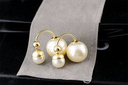 Wholesale Original Gold Earrings - Stud Earring Venetian Pearl Design Double Ball Beige Color Lady Brand Fashion Jewelry High Quality Original Package (Dust Bag,Gift Box) #DE1