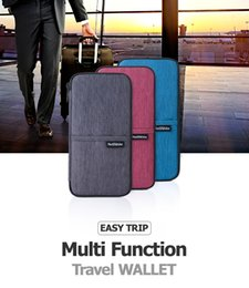 Wholesale College Wallets - 2017 New Blue Gray Red Multi Function Outdoor Bag for Cash, Passport, Card Multi Using Travel Wallet