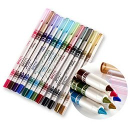 Wholesale Eye Liner Colours - Wholesale-New 12 Colours Make up Glitter Eye Liner Pen Pencil Eyebrow Eyeliner Set Plastic Cover free shipping