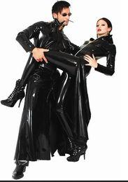 Wholesale Red Vinyl Catsuit - Big Size XL Unisex Black Red Bodysuit Sexy PVC Vinyl Long Capes Fetish Wetlook Leather Catsuit Robes 007 Superhero Halloween Cosplay Costume